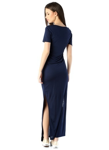 Fashion Friends Fashion Friends 5B0631B1Elb Yuvarlak Yaka Kısa Kol Koyu Kadın Elbise Lacivert